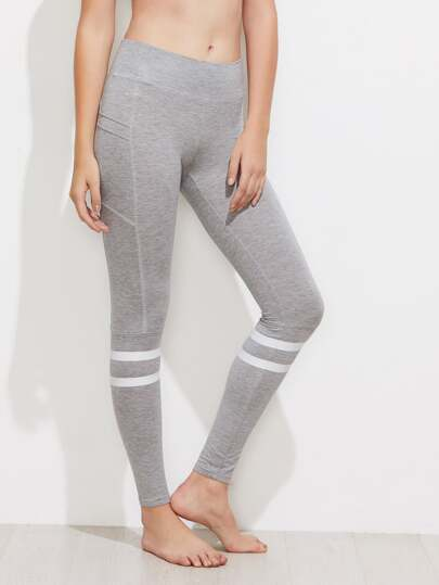 Striped High Waist Marled Knit Leggings