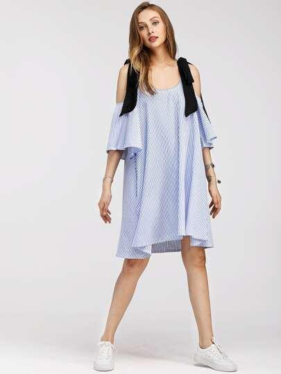 Contrast Tie Cold Shoulder Vertical Striped Dress