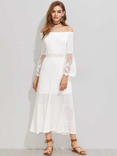 Bardot Embroidered Mesh Flute Sleeve Dress