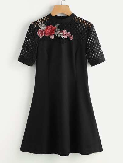 Flower Patch Eyelet Shoulder Princess Seam Dress