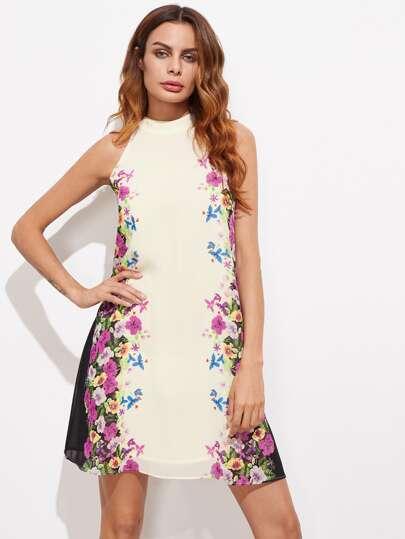 Halter robe ouverture à motifs de fleurs