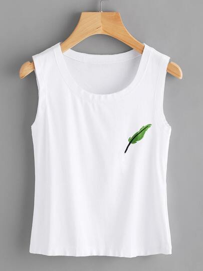 Leaf Embroidered Raw Trim Tank Top