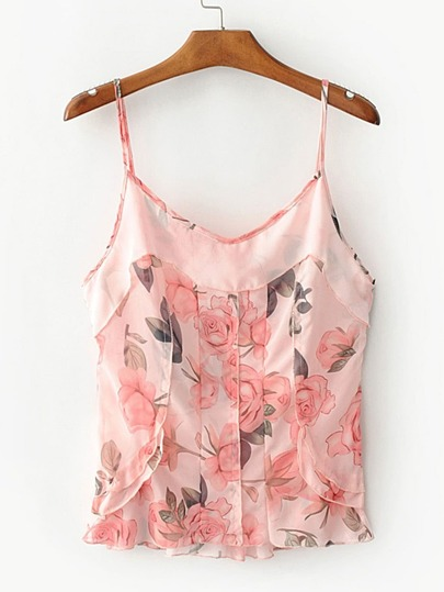 Floral Print Tiered Cami Top