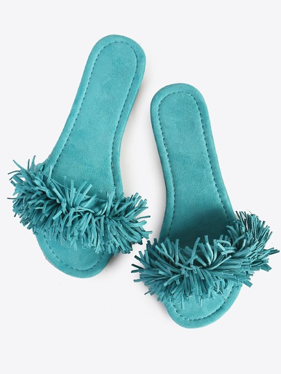 Fringe Slip On Sandals SEA GREEN