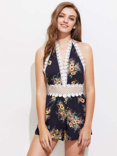 Plunging V-Neckline Crochet Trim Playsuit