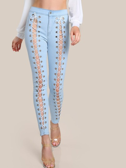 Lace Up High Rise Pants DENIM