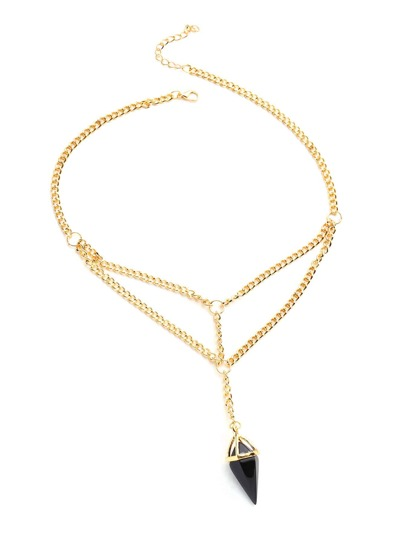 Contrast Crystal Pendant Link Necklace