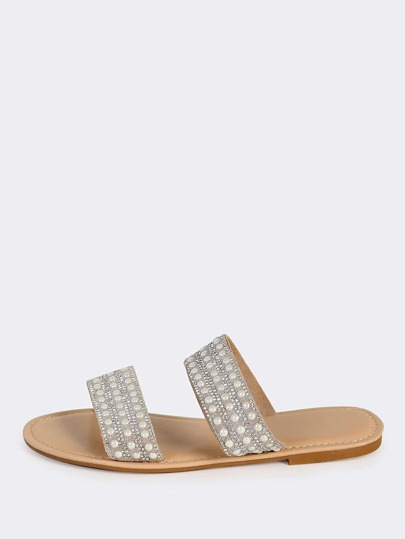 Beaded Duo Band Slip Ons NUDE