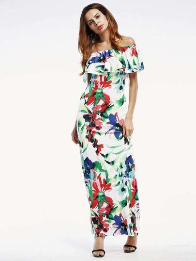 Flounce Layered Neckline Random Florals Full Length Dress