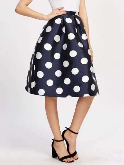 Polka Dot Box Pleated Volume Skirts