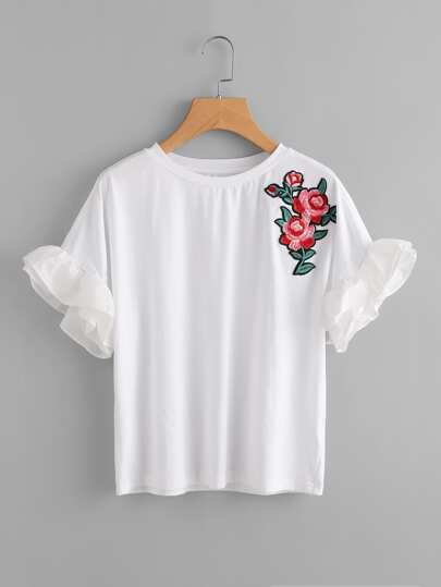 Flower Patch Frilled Sleeve Tee
