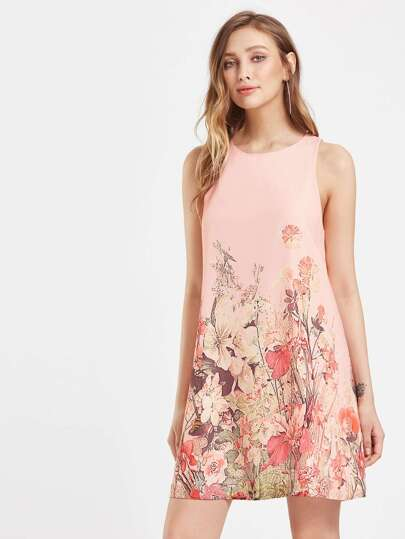 Buttoned Keyhole Botanical Swing Dress
