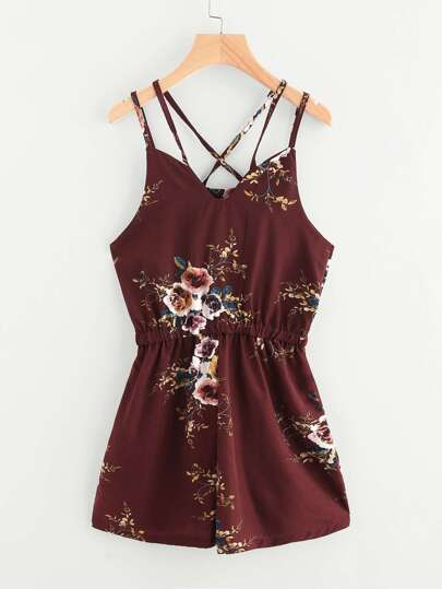Stampa floreale Casuale Criss Cross Back Cami Romper