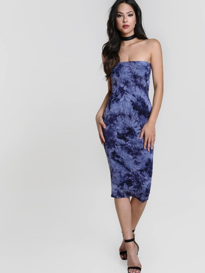 Tie Dye Bandeau Midi Dress