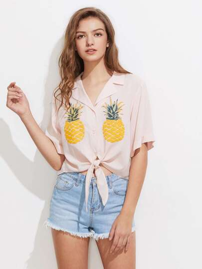 Notch Collar Pineapple Print Tie Front Blouse