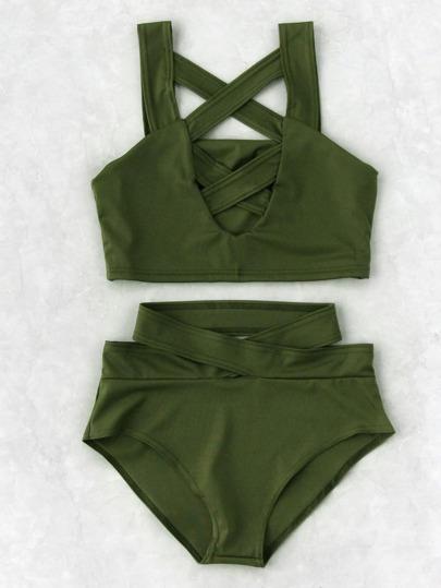 Set bikini con abertura en la parte delantera de talle alto