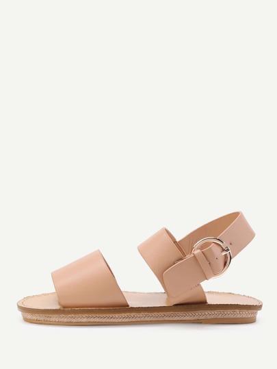 Sandales plat PU avec détail de boucle métal