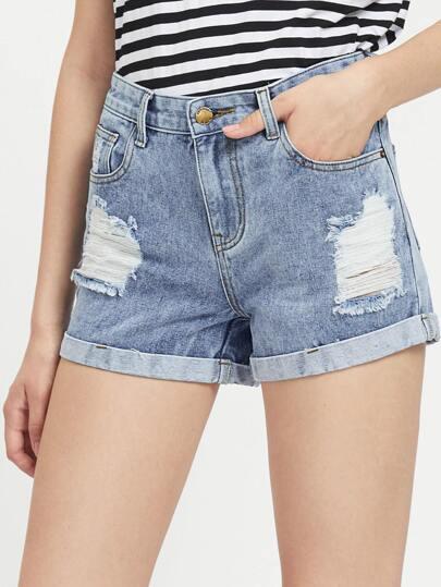 Faded Wash Cuffed Denim Shorts
