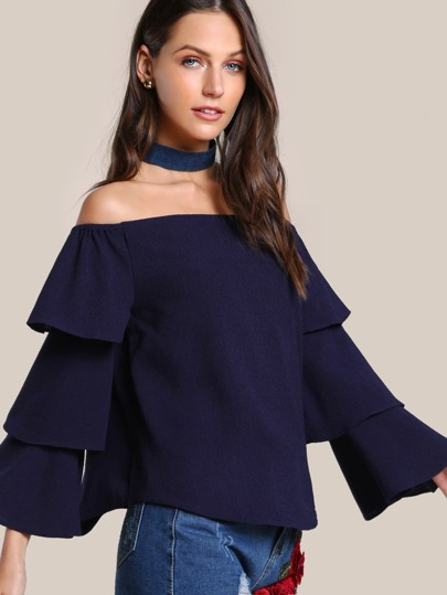 Off Shoulder Layered Top NAVY