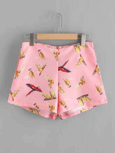 Random Birds Print Shorts