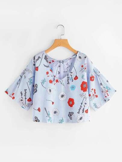 Blusa de rayas con estampado floral