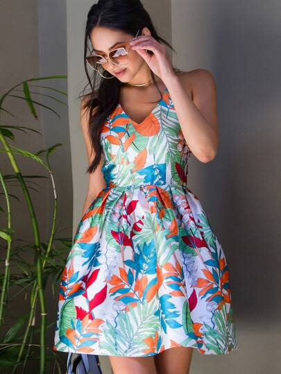 Flower Print Box Pleated Fit And Flare Dress