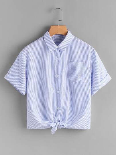 Cuffed Sleeve Knot Front Pinstripe Shirt