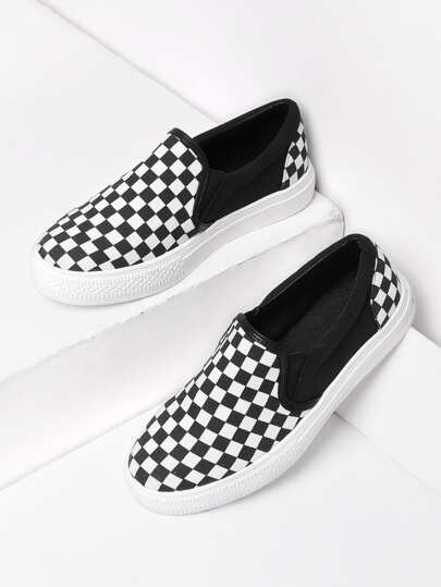 Gingham Canvas Slip On Plimsolls