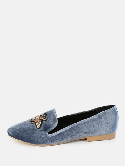 Bee Applique Loafers OCEAN BLUE
