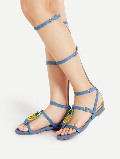 Two Tone Knee High Gladiator Sandals