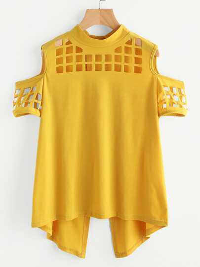 Open Shoulder Laser Cut Out Overlap Back Tee