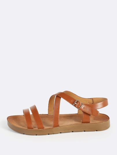 Leather Instep Sandals CHESTNUT