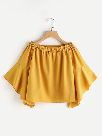 Boat Neckline Flute Sleeve Top