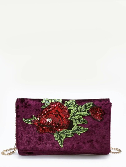 Sac à chaîne en velours avec paillettes et perles et fleur