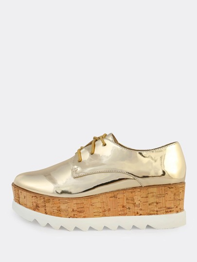 Metallic Patent Cork Flatform GOLD