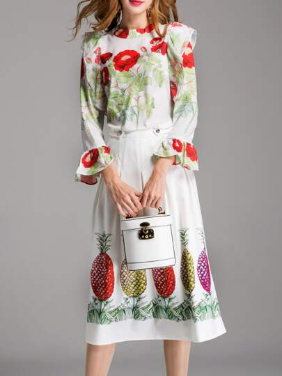 Bell Sleeve Top With Pineapple Print Skirt