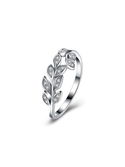 Rhinestone Detail Olive Branch Ring