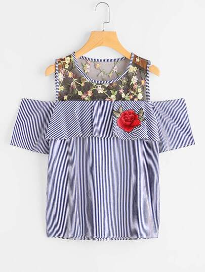 Mesh Insert Frill Trim Embroidered Applique Vertical Striped Blouse