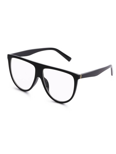Flat Top Clear Lens Oversized Glasses
