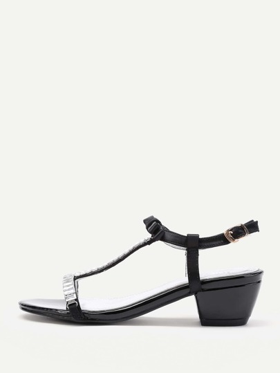 Bow Tie Detail T Strap Sandals