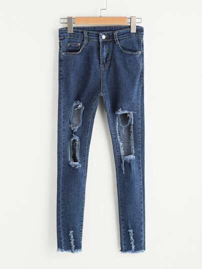 Jeans découpé rétro lacéré