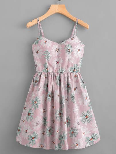 Leaf Print Random Lace Up Back Cami Dress