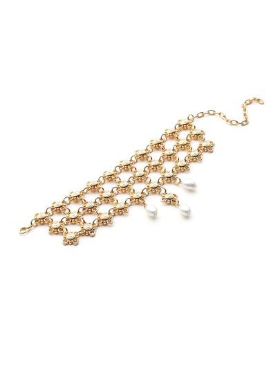 Faux Pearl Detail Flower Bracelet