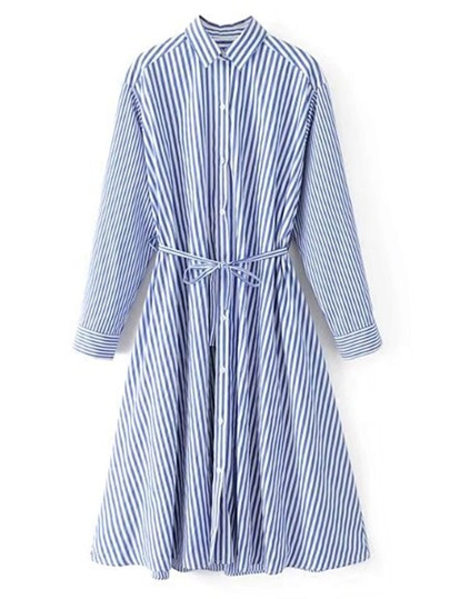 Vertical Striped Shirt Dress With Self Tie