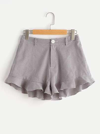 Ruffle Hem Checkered Shorts