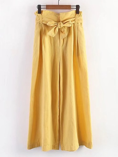 Bow Tie Waist Wide Leg Pants