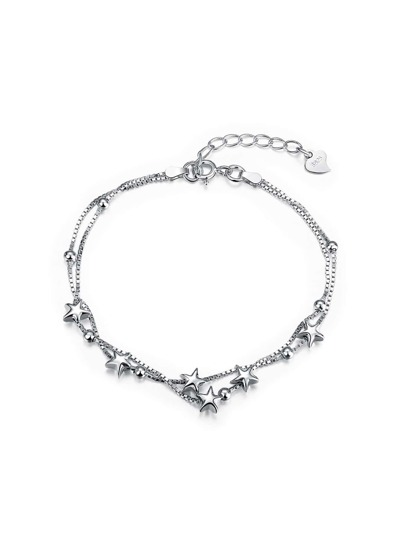 Metal Star Detail Layered Link Bracelet