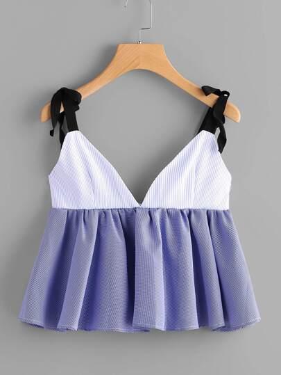 Camisole à rayures avec des plis et un lacet