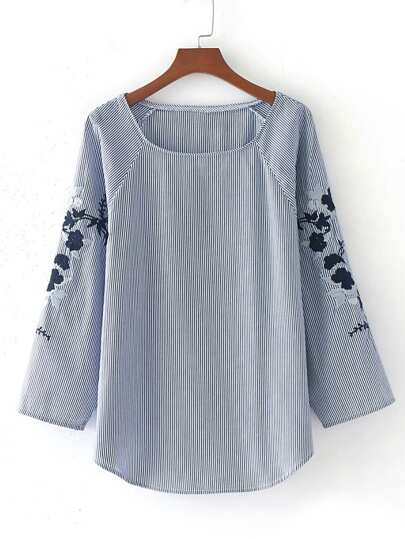 Raglan Sleeve Embroidery Pinstripe Blouse