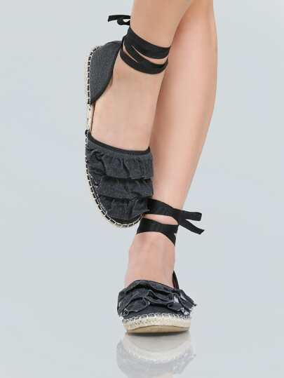 Frilly Espadrilles Flats BLACK